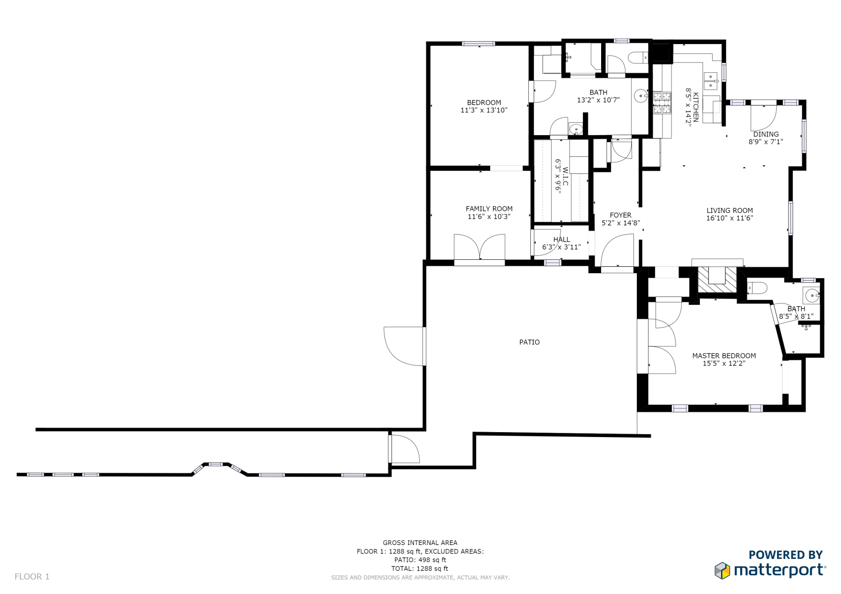 Floor Plan for Black Mesa Casita - 2 Bed, 2 Bath Casita
