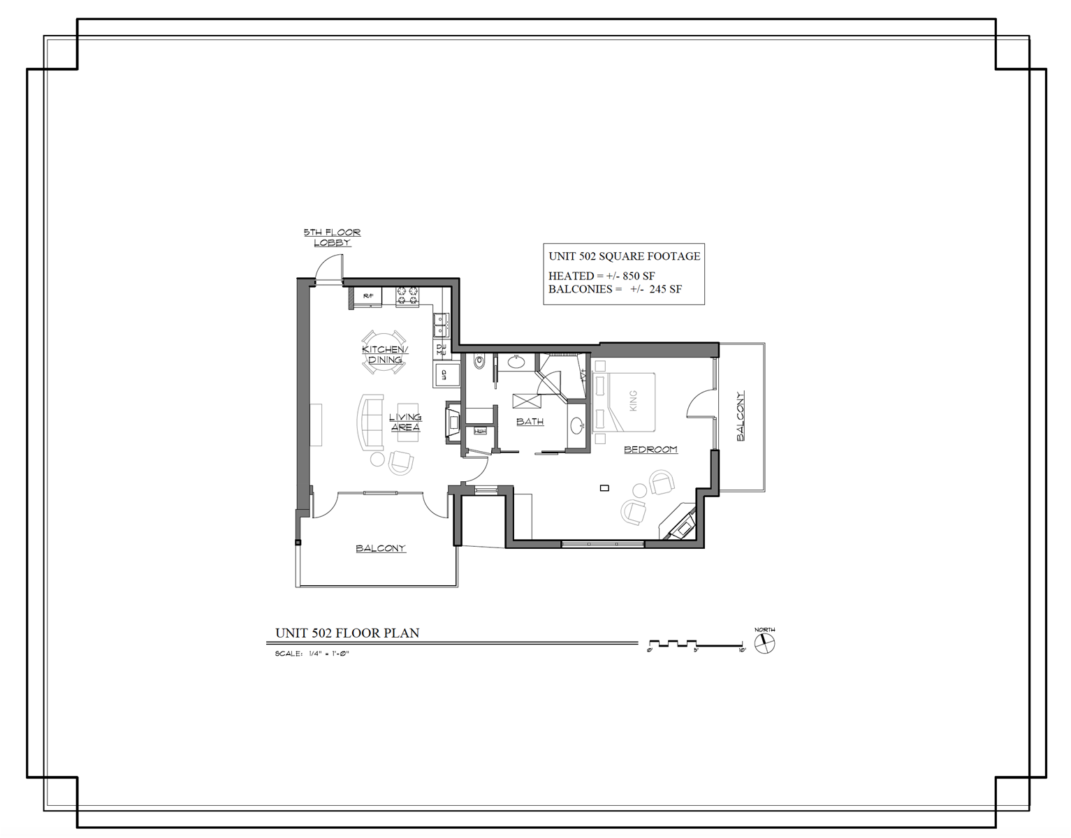 Floor Plan for The Lincoln 502, 1 Bed / 1 Bath, Luxury Loft Style Condo
