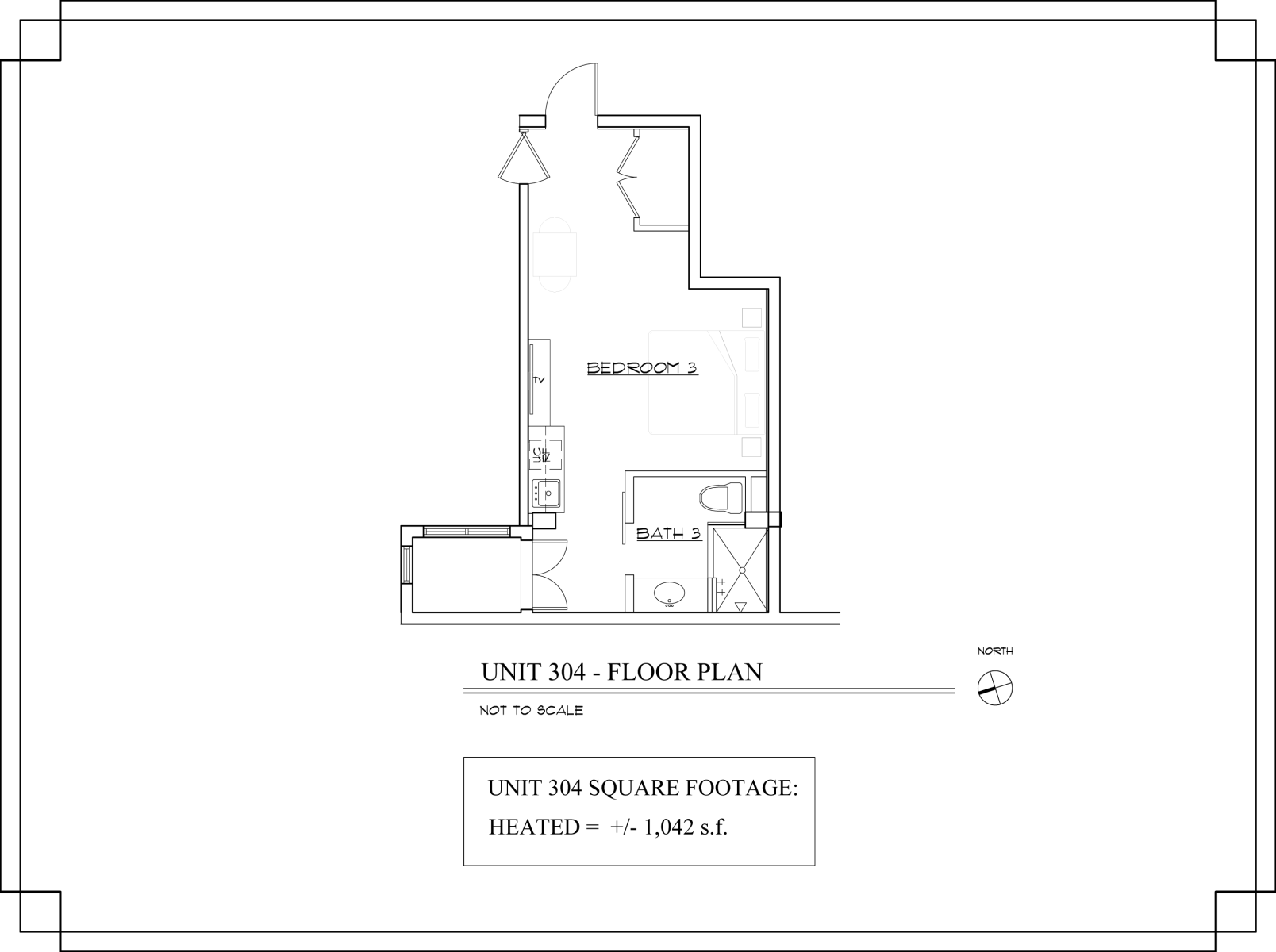 Floor Plan for The Lincoln 304-1 Bed, 1 Bath Efficiency Studio