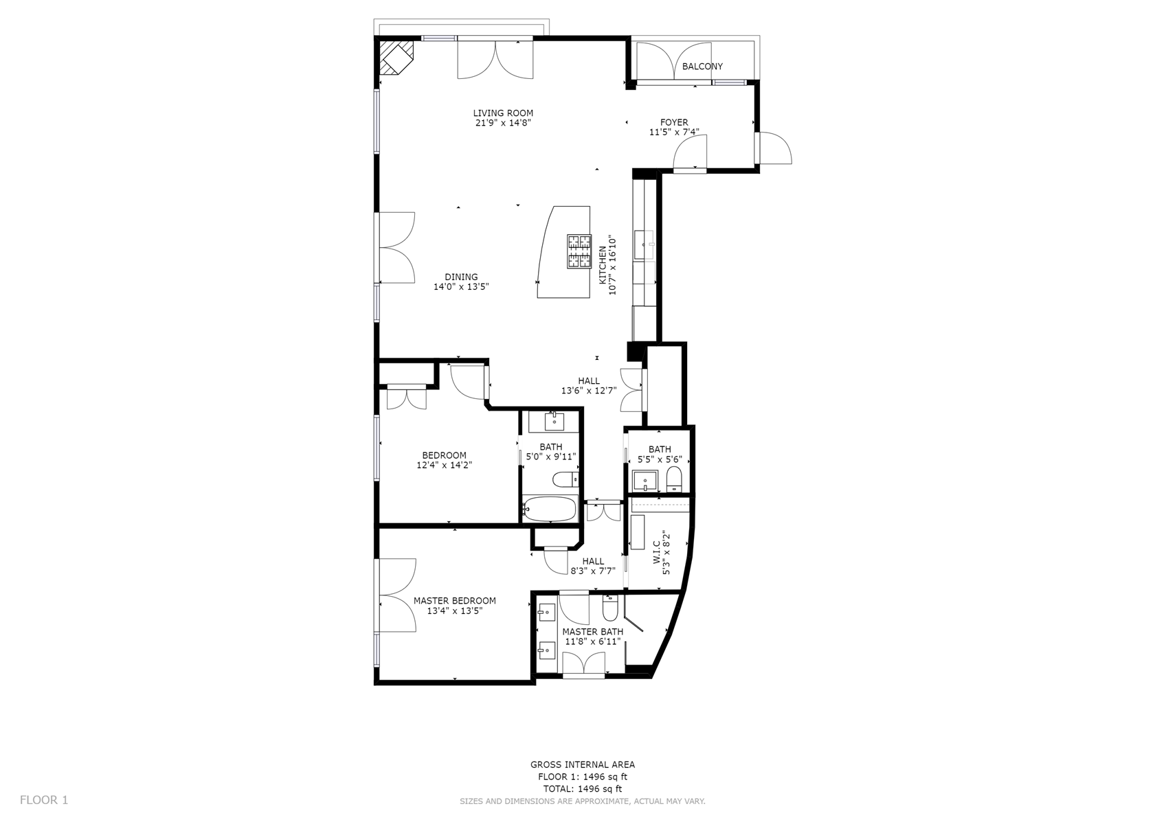 Floor Plan for The Lincoln 501, 2 Bed / 2.5 Bath, Luxury Condo (Fragrance/Allergen Free)