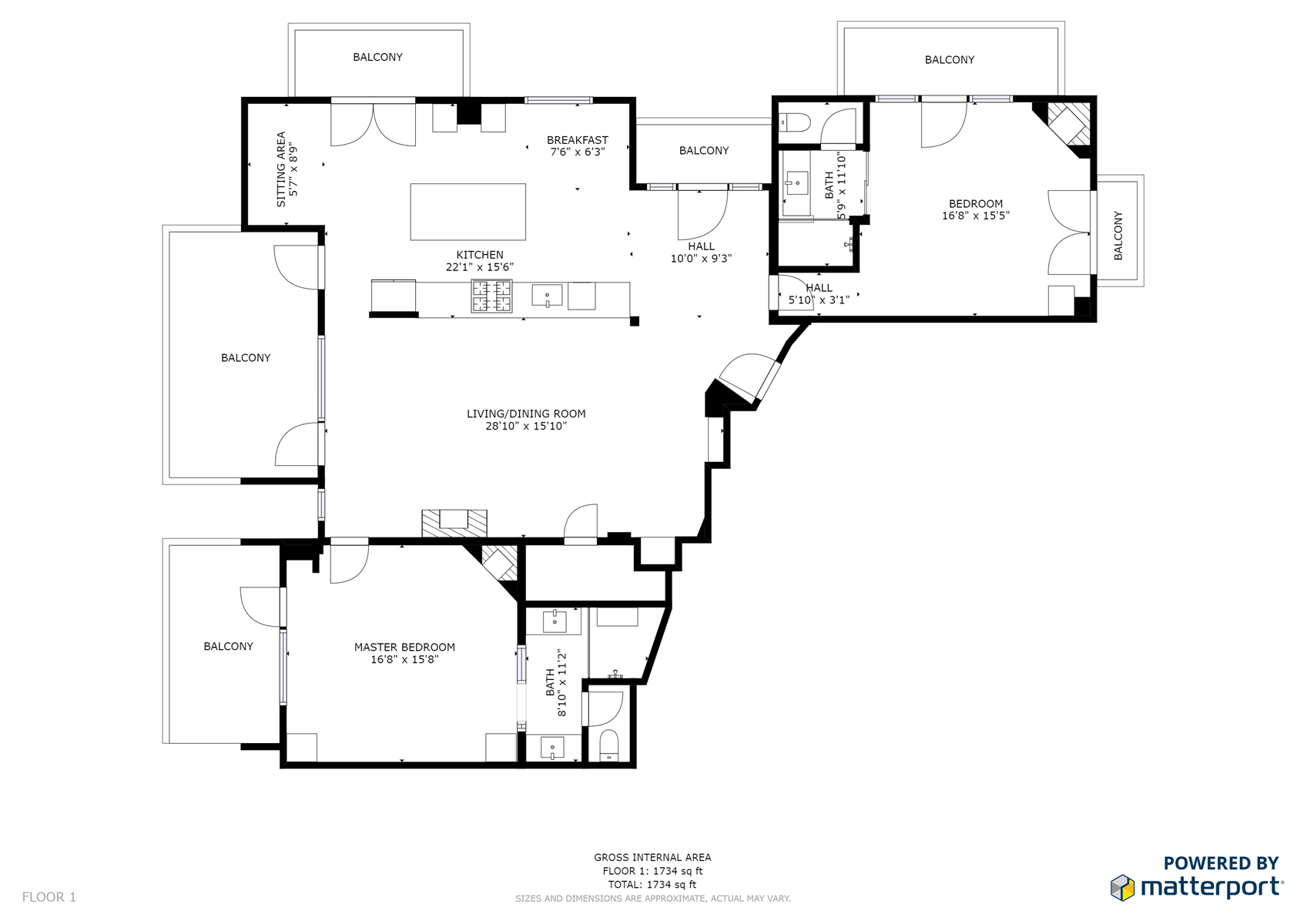 Floor Plan for The Lincoln 503, 2 Bed / 2 Bath, Luxury Loft Style Condo