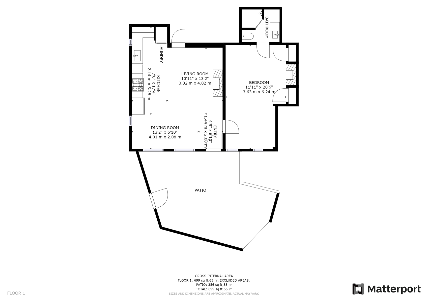 Floor Plan for Bosque Casita: NEW Casita in The Downtown Railyard District just a short walk to the Plaza