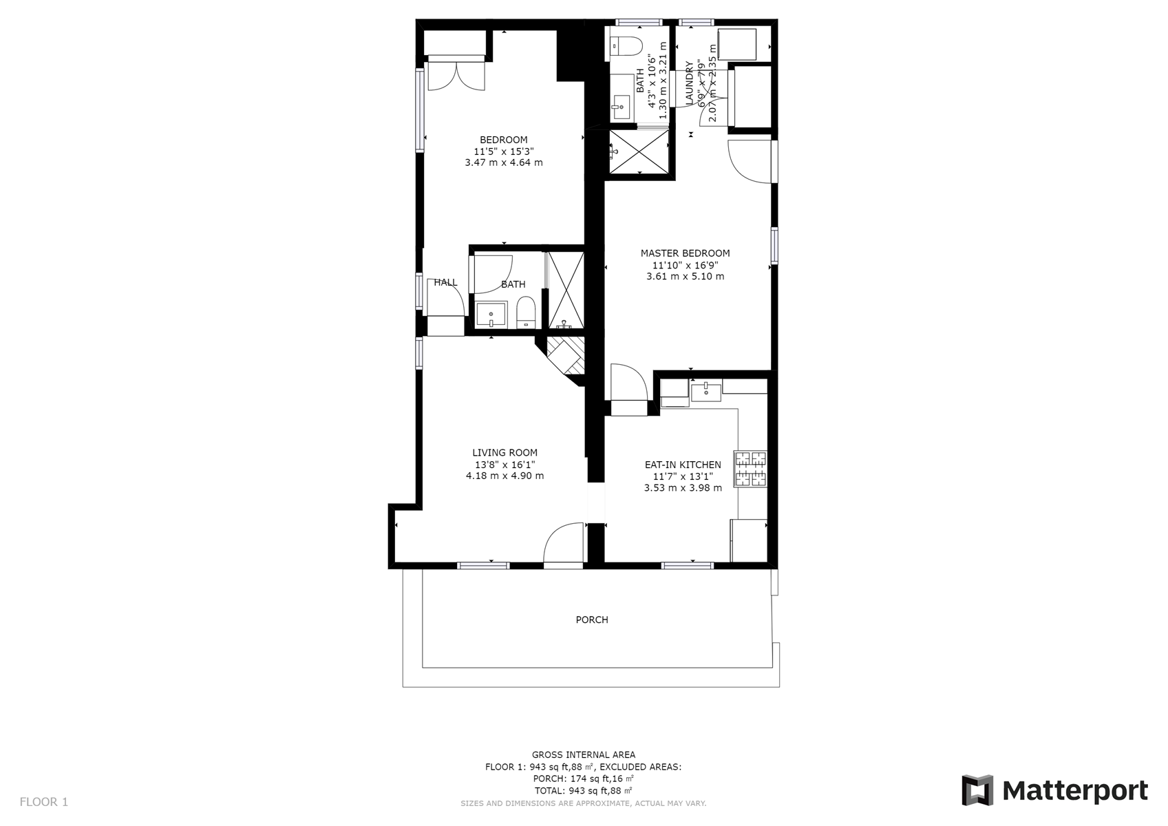 Floor Plan for Dulce Casita, Two-Bedroom, Two-Bathroom