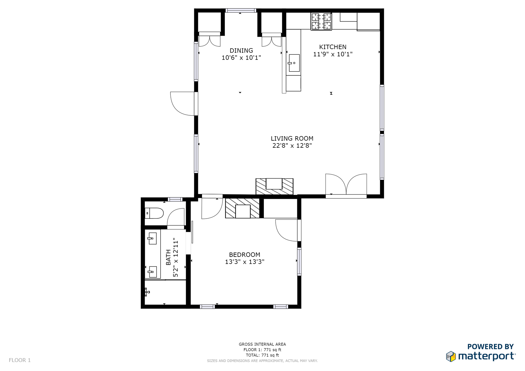 Floor Plan for Delgado A - 1 Bed / 1 Bath, Luxury Casita
