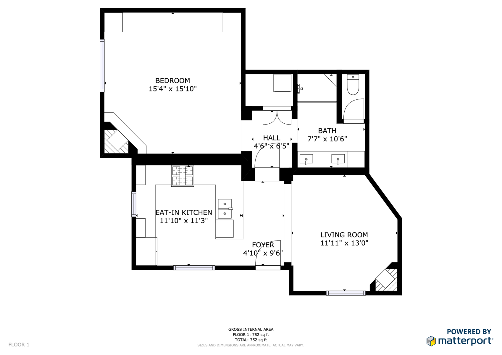 Floor Plan for Delgado B-2 - 1 Bed / 1 Bath, Luxury Casita