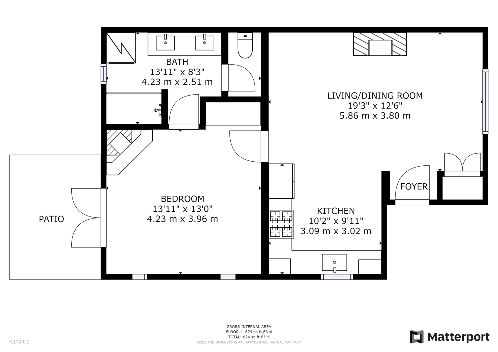 Floor Plan for Delgado C-1: Just one block from Canyon Road!