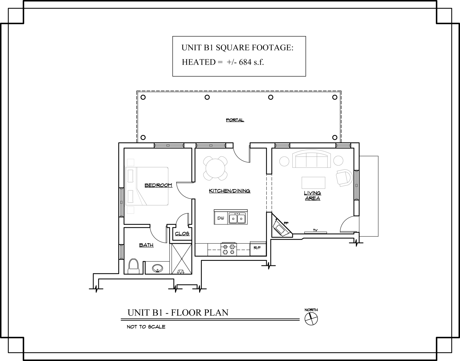 Floor Plan for Delgado B1 - 1 Bed / 1 Bath, Luxury Casita