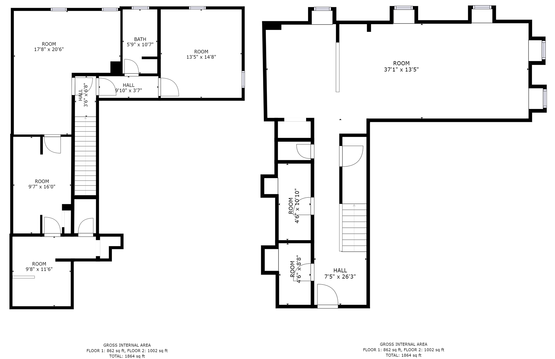 Floor Plan for Water Street Residence Unit A - 2 Bed, 2.5 Bath, Luxury Apartment