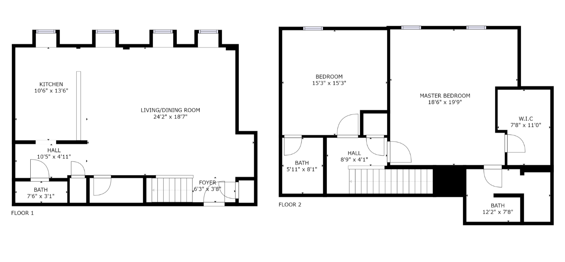 Floor Plan for Water Street Residence Unit B - 2 Bed / 2.5 Bath, Luxury Apartment