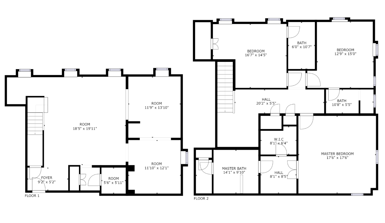 Floor Plan for Water Street Residence Unit C - 3 Bed / 3.5 Bath, Luxury Apartment
