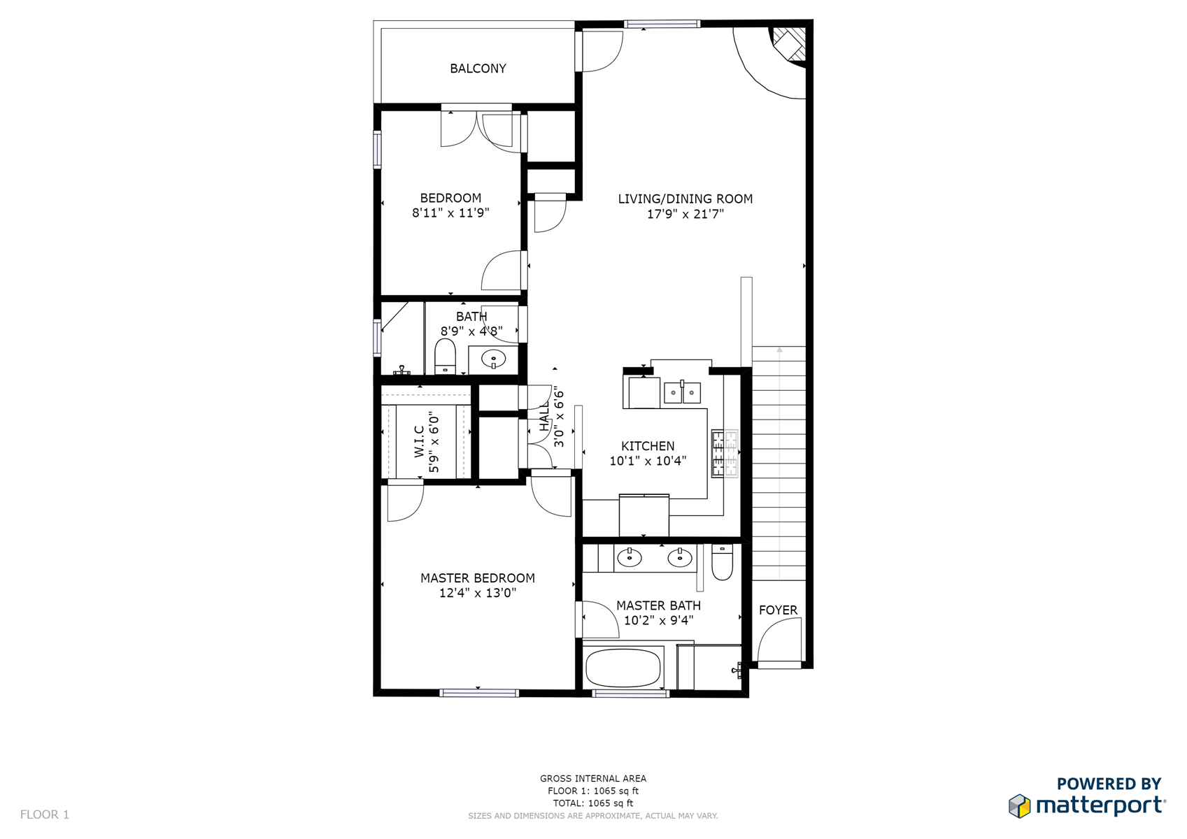 Floor Plan for Corazon Condo Unit 2, 2 Bed / 2 Bath, Luxury Style Condo
