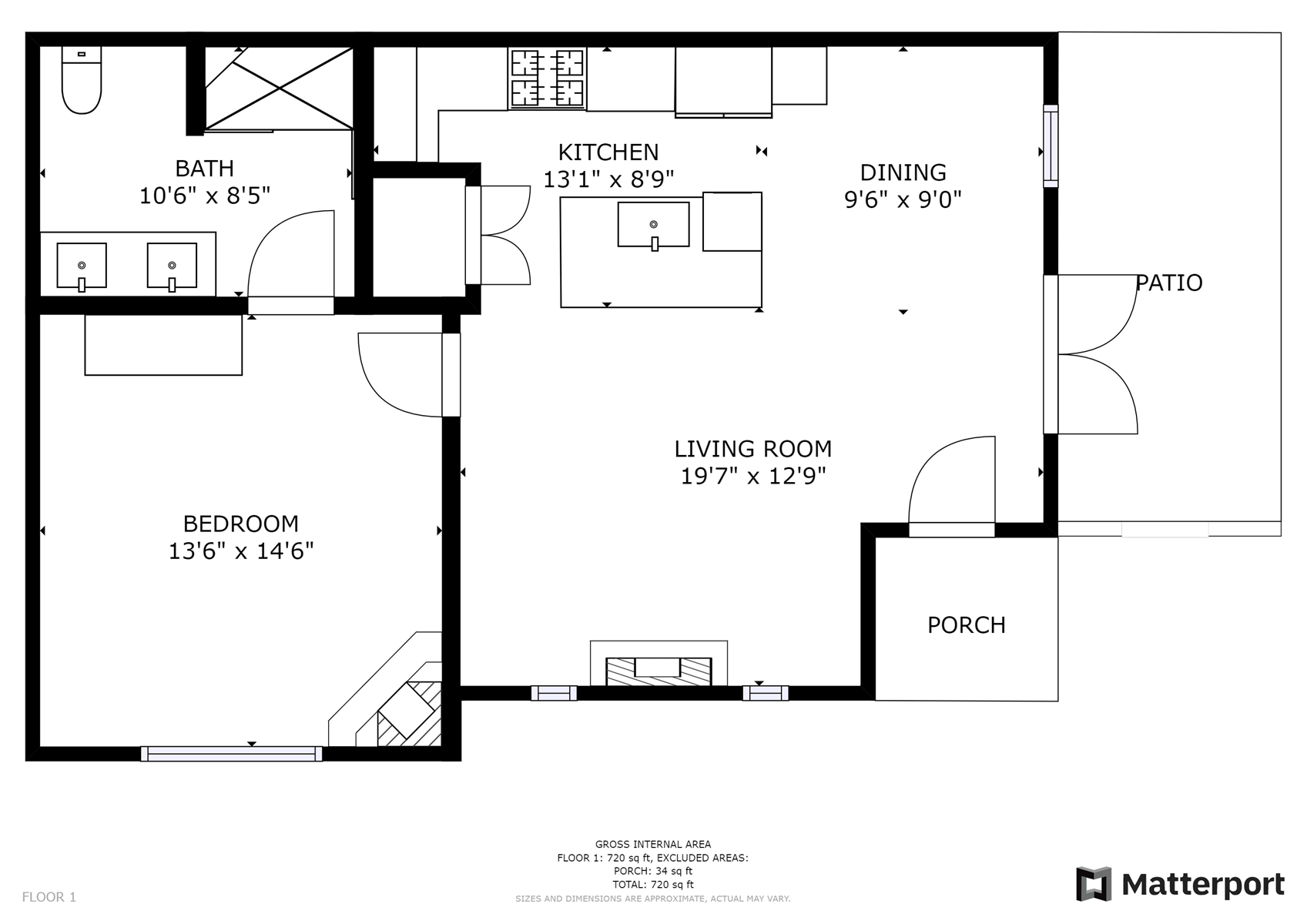 Floor Plan for Delgado C3 - 1 Bed / 1 Bath, Luxury Casita