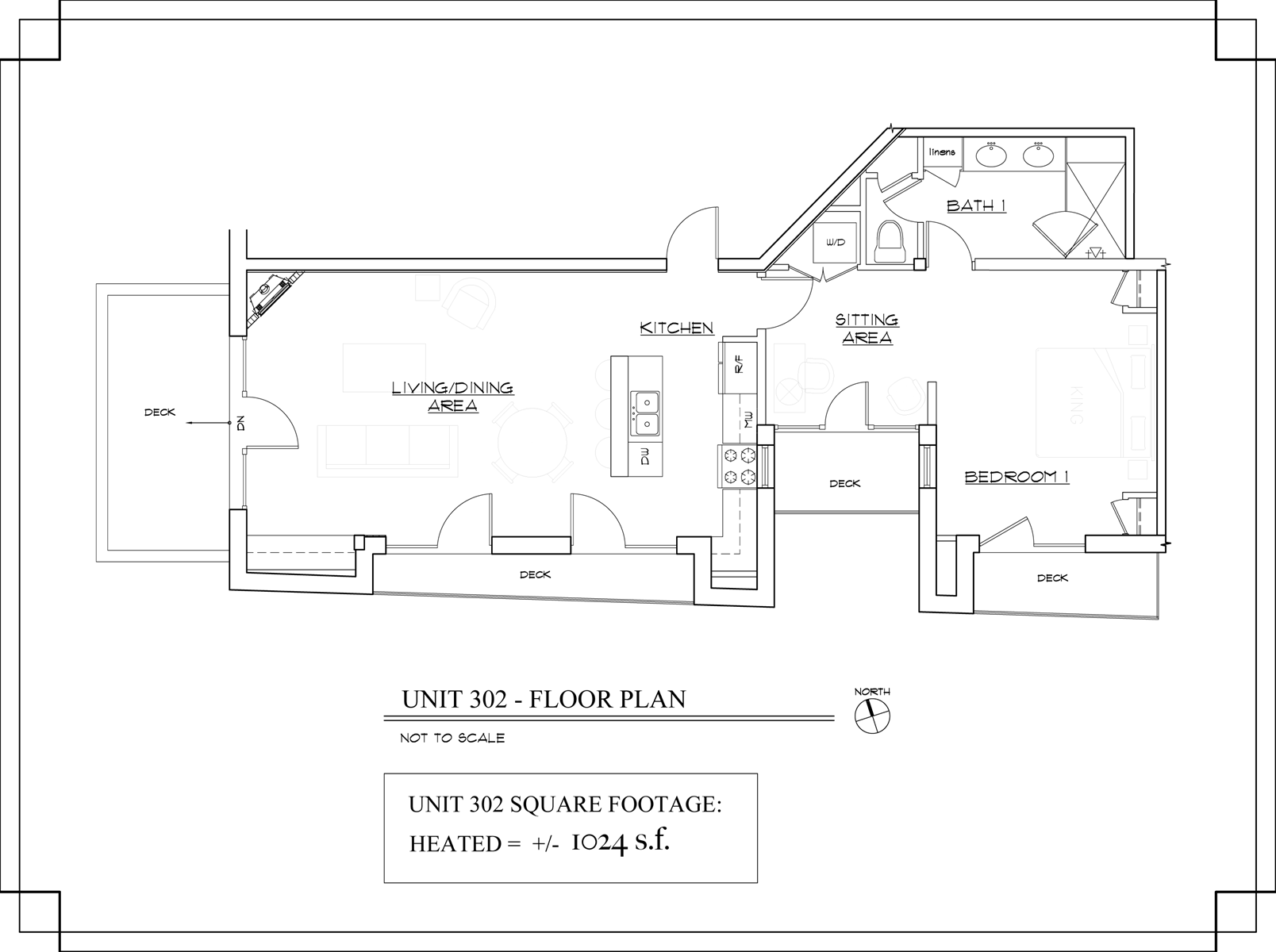 Floor Plan for The Lincoln 302, 1 Bed / 1 Bath, Luxury Condo