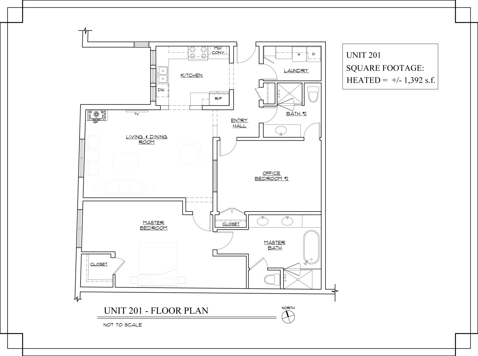 Floor Plan for The Lincoln 201-2 Bed, 2 Bath Loft