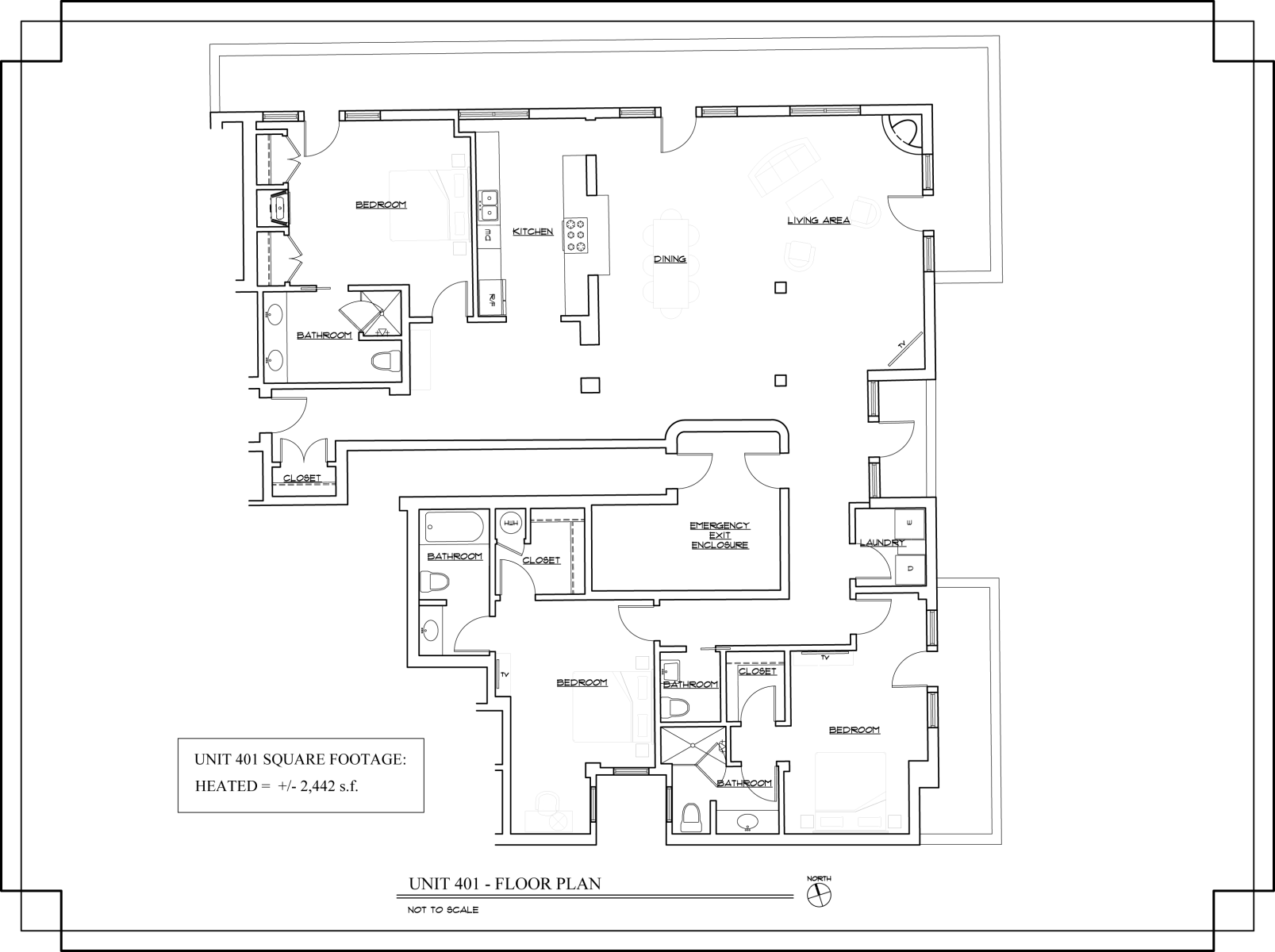 Floor Plan for The Lincoln 401, 3 Bed / 3.5 Bath, Luxury Condo