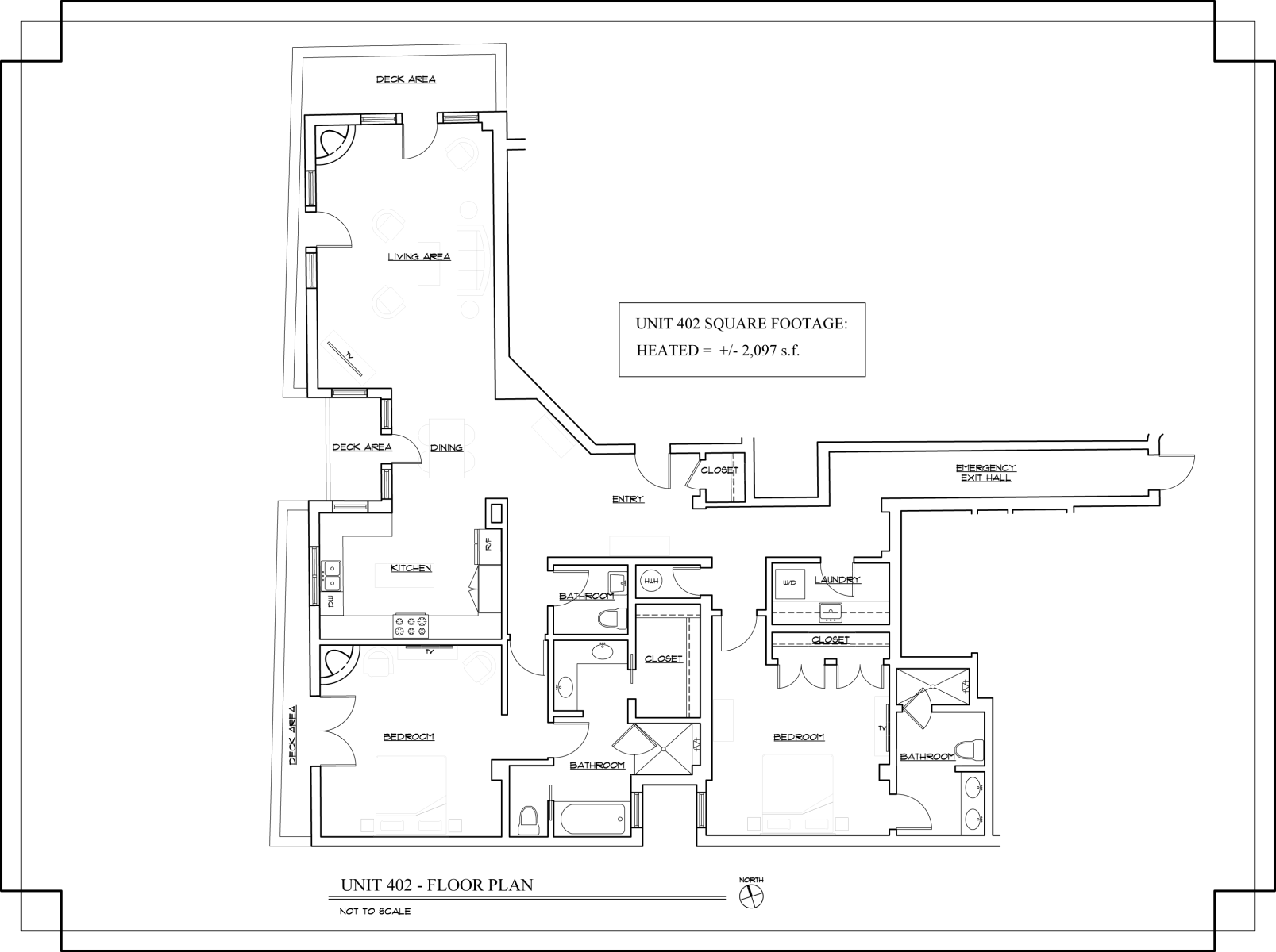 Floor Plan for The Lincoln 402, 2 Bed / 2.5 Bath, Luxury Condo